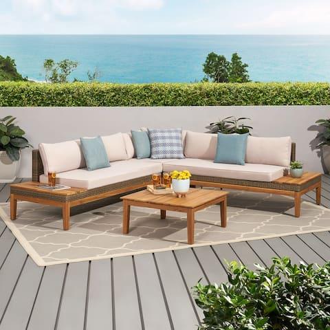 Loft Outdoor 5-pc. Cushioned Acacia/Wicker Sectional Sofa Set