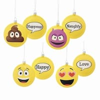 "Club Pack of 24 Emoticon Disc Hanging Christmas Ornaments 3.38"" - YELLOW"