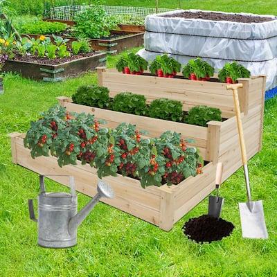 Kinbor 3-Tier Wooden Raised Garden Bed, Elevated Garden Planter Box Garden Bed Kit for Vegetable Herb Flower