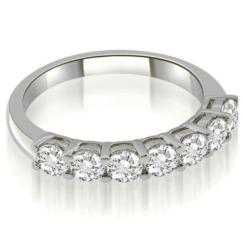 1.05 cttw. 14K White Gold Classic Basket Round Cut Diamond Wedding Band