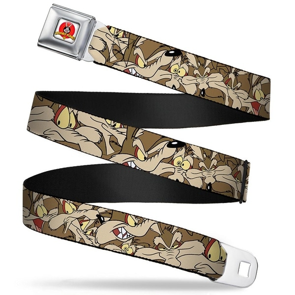 Looney Tunes Logo Full Color White Wile E. Coyote Expressions Stacked Seatbelt Belt