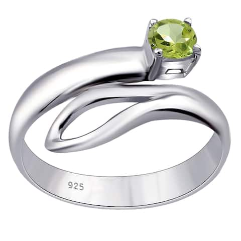 Lemon Quartz, Citrine, Peridot Sterling Silver Round Solitaire Ring By Orchid Jewelry