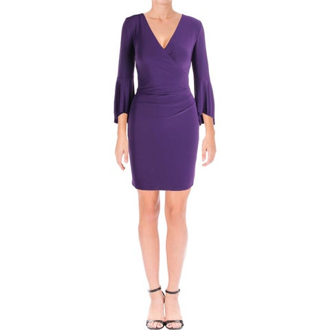 Lauren Ralph Lauren Womens Party Dress Faux Wrap Bell Sleeves