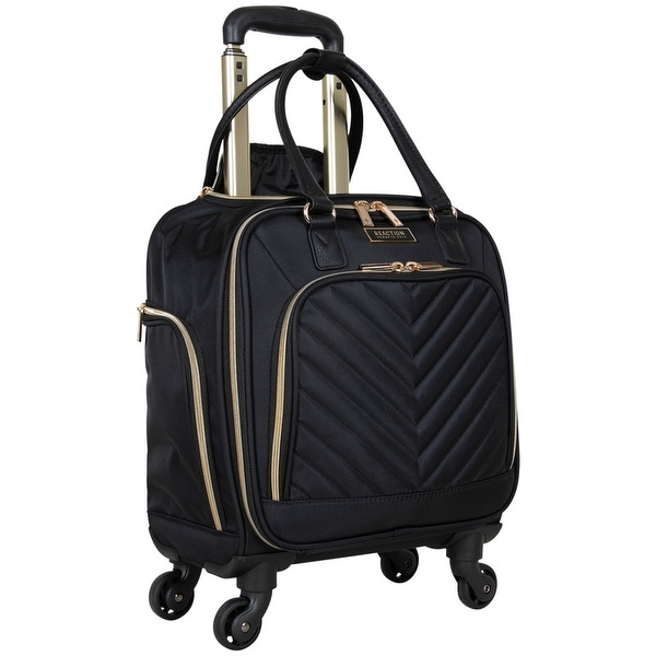 """Kenneth Cole Reaction Chelsea 17"""" Chevron Quilted 4-Wheel Spinner Underseater 14.1"""" Laptop Carry-On Suitcase. Opens flyout."""