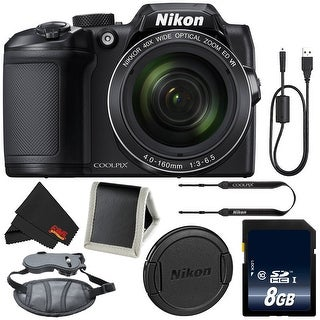 Nikon COOLPIX B500 Digital Camera (Black) 26506 (Intl Model) + 8GB SDHC Class 10 Memory Card + Memory Card Wallet