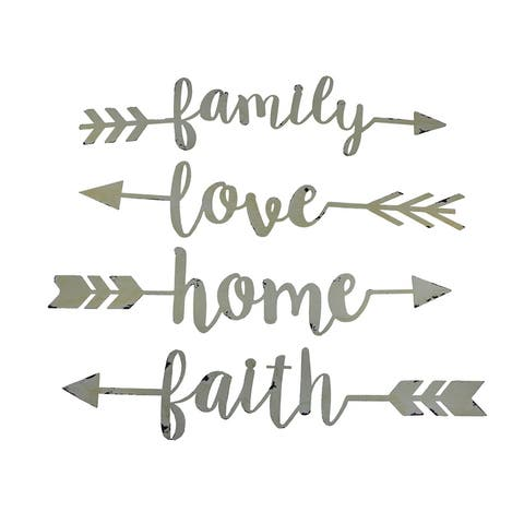 Shabby Chic Family Love Home and Faith 4 Piece Wall Arrow Set