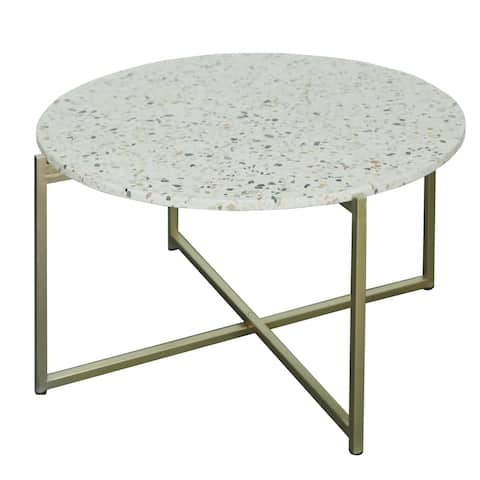 """Maeve 18.5"""" Terrazzo Accent Table in Gold"""