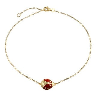 Bling Jewelry Gold Plated 925 Silver Anklet Red Enamel Ladybug