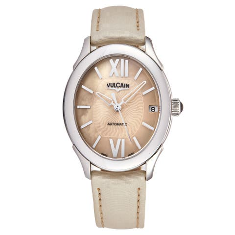 Vulcain Women's 610164N70BAS415 'First Lady' Cream Mother of Pearl Dial Cream Satin Leather Strap Automatic Watch