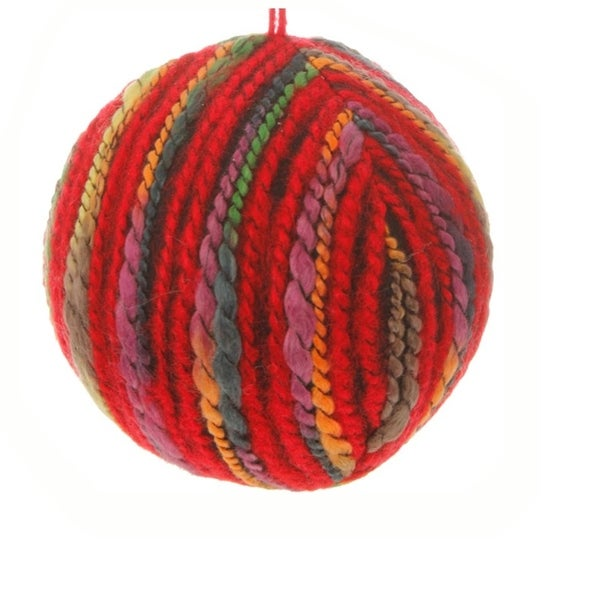 "4"" Bohemian Holiday Colorful Yarn Christmas Ball Ornament - multi"