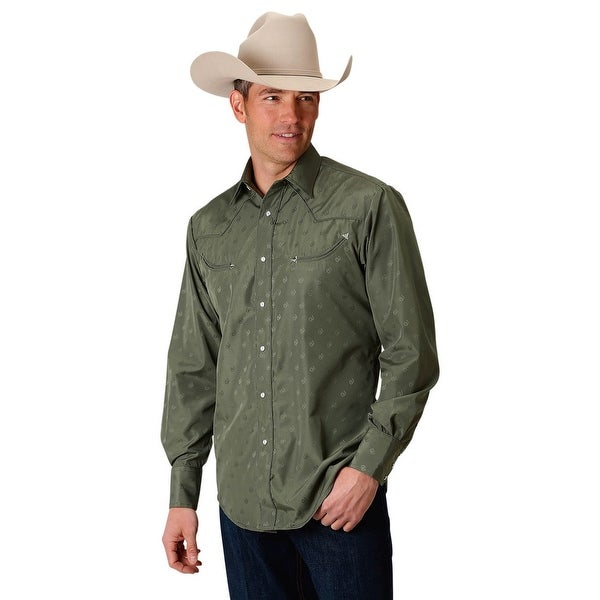 fa074e3f6 Shop Roper Western Shirt Mens L/S Solid Snap Tone Olive - Free Shipping On  Orders Over $45 - Overstock - 28051064
