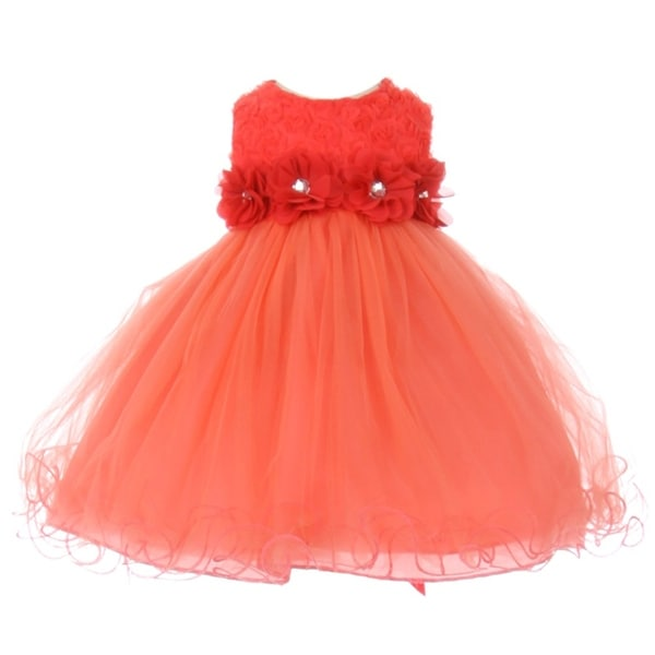 Baby Girls Coral Sparkle Jewel Centered Flower Adorned Easter Dress