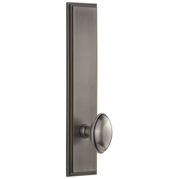 Grandeur CAREDN_TP_PRV_238_RH Carre Solid Brass Tall Plate Rose Right Handed Privacy Door Knob Set with Eden Prairie Knob and