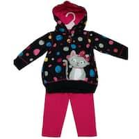Watch Me Grow Baby Girls Black Fuchsia Dot Cat Hooded Top 2 Pc Pant Set 3-9M