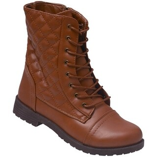 Weeboo Adult Brown Lace-Up Quilted Panels Mid-Calf Combat Boots