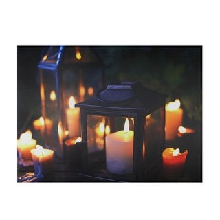 """LED Lighted Flickering Garden Lantern Candles Scene Canvas Wall Art 11.75"""" x 15.75"""" - N/A"""