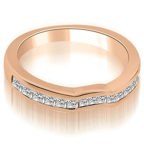0.60 cttw. 14K Rose Gold Channel Set Princess Cut Diamond Wedding Band