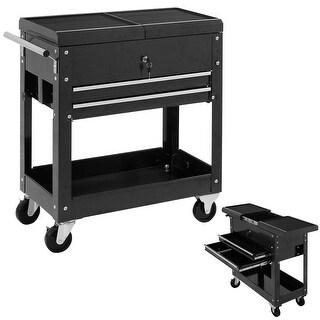 Costway Rolling Mechanics Tool Cart Slide Top Utility Storage Cabinet Organizer 2 Drawer - Black