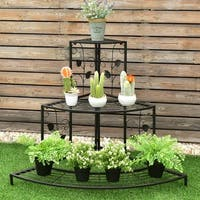 Costway 3 Tier Floral Corner Plant Stand Metal Flower Pot Rack Stair Display Ladder - Black
