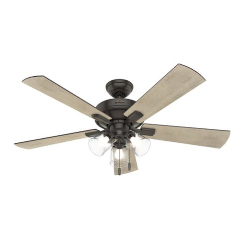"Hunter 52"" Crestfield Ceiling Fan with LED Light and Pull Chain"