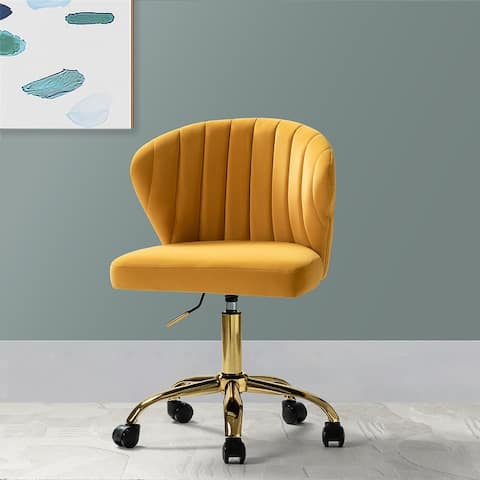 Ilia Vevet Upholstered Task Chair with Gold Base for Home Office