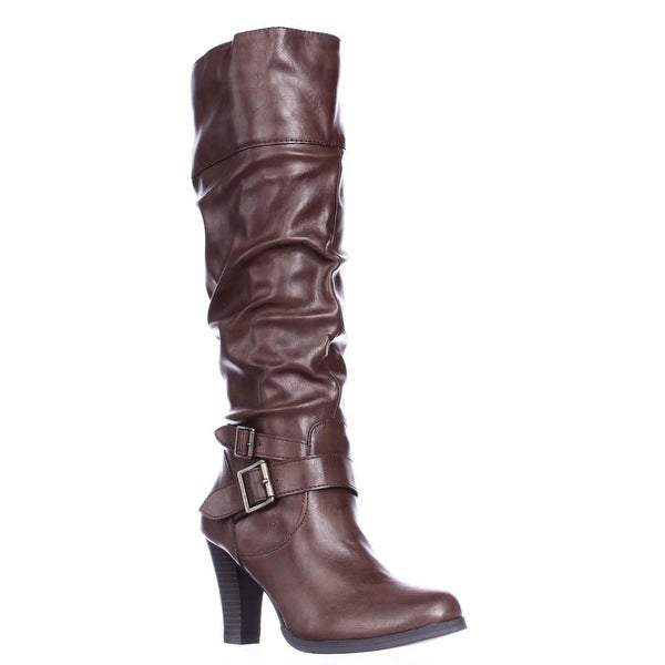 SC35 Rudyy Heeled Knee High Boots, Cognac