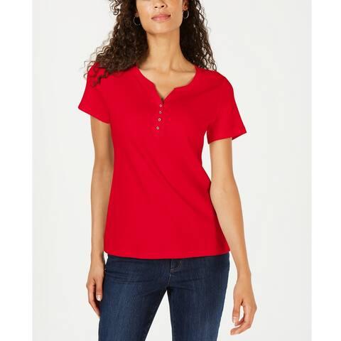 Karen Scott Women's Cotton Henley Top Red Amore - Size Large