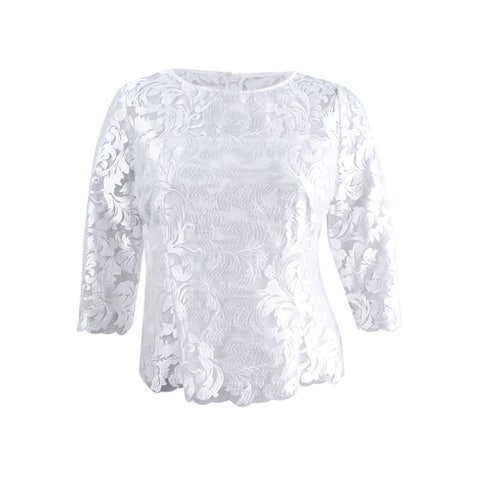Alex Evenings Women's Embroidered Top - White - L