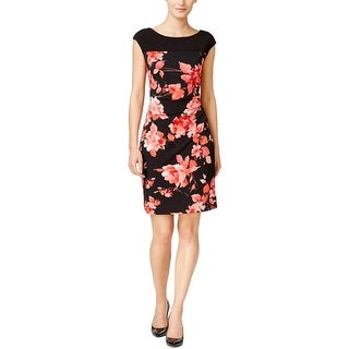 Connected Apparel Womens Petites Casual Dress Floral Print Pullover