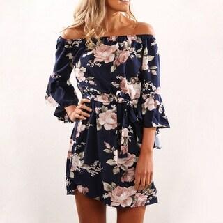 Sexy Off Shoulder Slash Neck Office Dress Floral Print Beach Dress
