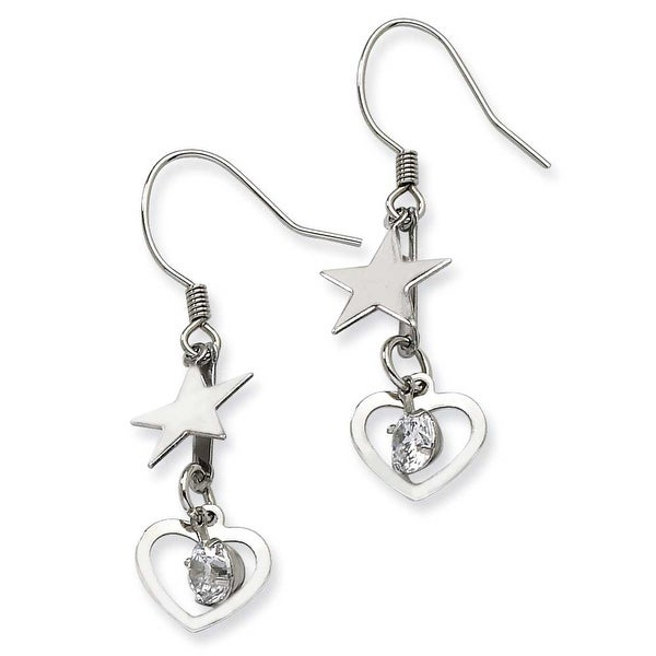 Chisel Stainless Steel Heart & Stars with CZ Stone Dangle Earrings