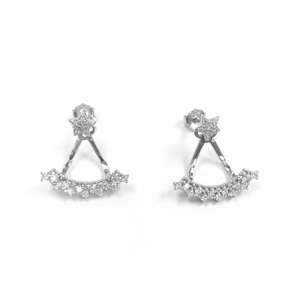 925 Sterling Silver Star Stud Curved Earjacket with Cubic Zirconia