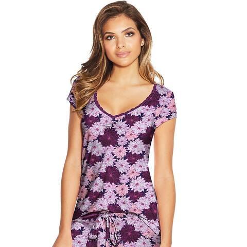 Maidenform Lace Trim Cap Sleeve Tee - Color - Multi Floral - Size - L