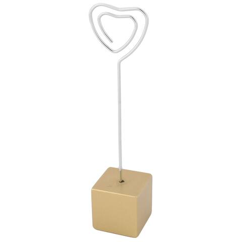 Household Office Resin Cube Shaped Base Decorative Paper Memo Clip Gold Tone