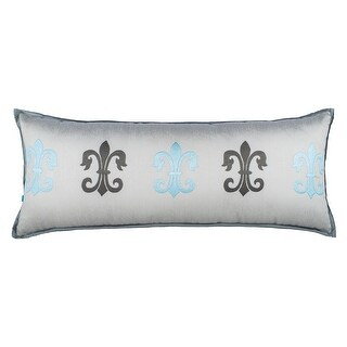 100% Handmade Imported Fleur de Lis Throw Pillow Cover, Grey and Ice Blue on Silver