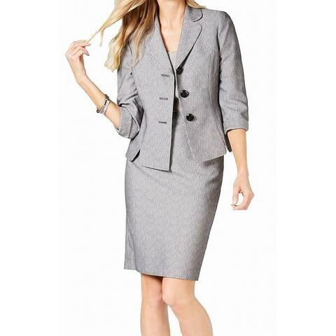 Le Suit Women's Skirt Suit Gray Size 16 Wide Lapel Novelty Collar