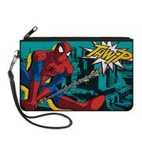 Spider Man Swinging Thwip Pose Skyline Turquoise Black Yellows Canvas Canvas Zipper Wallet
