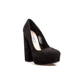 Prada Women's Suede Block High Heel Pump Shoes Black