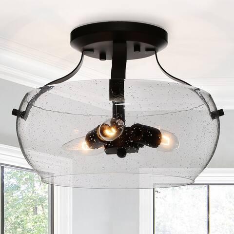 """Modern Farmhouse 3-light Glass Semi-Flush Mount Ceiling Lights for Kitchen - ORB - D 12"""" x H 9"""""""