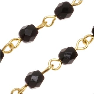 Czech Fire Polished Glass Bead Gold Plated Link Chain 4mm Jet Round - By The Inch