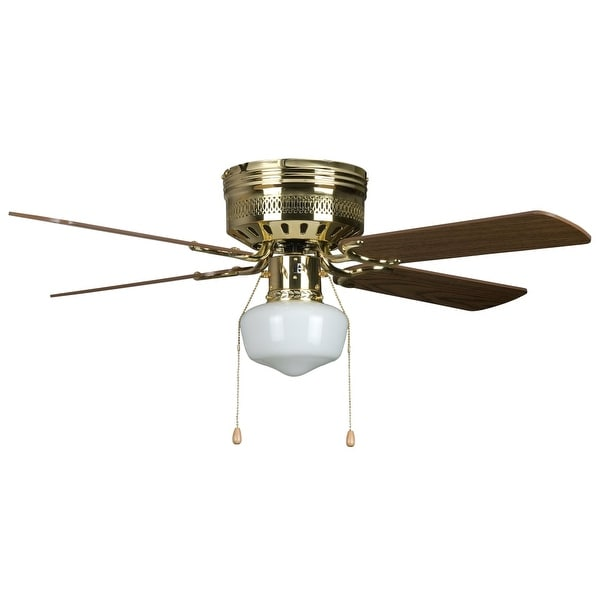 Concord 42HUG4-YG6 4 Blade 42 Inch Hugger Indoor Ceiling Fan with Schoolhouse Light Kit