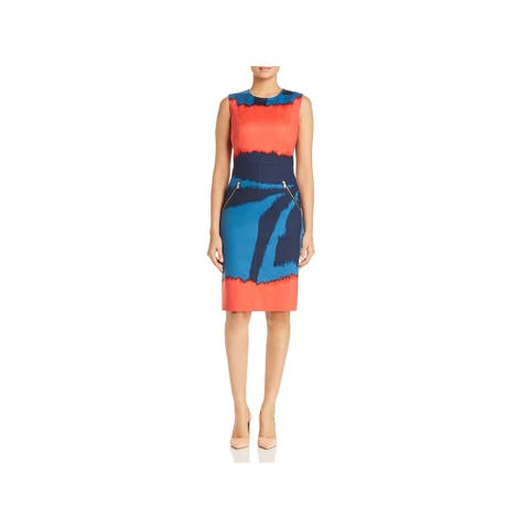 Donna Karan Womens Wear to Work Dress Printed Crew Neck