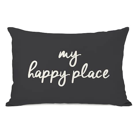 My Happy Place Charcoal - Lumbar Pillow