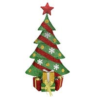 "39"" Lighted Green and Red Tinsel Christmas Tree with Gifts Outdoor Decoration"