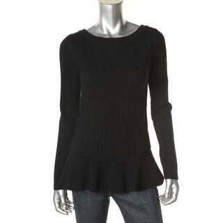 Tory Burch Womens Merino Wool Peplum Pullover Sweater - XL