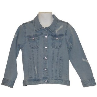 Little Girls Stretch Twill Straight Light Denim Jacket With Crystal Buttons 2T-4T
