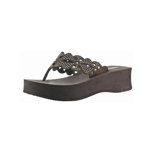 Volatile Womens Suellen Wedge Sandals Open Toe Cut-Out