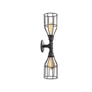 Industrial 2-Light Wall Sconce with Iron Shade