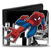 Ultimate Spider Man Spider Man Swinging Pose2 Skyline Black White Bi Fold Bi-Fold Wallet - One Size Fits most