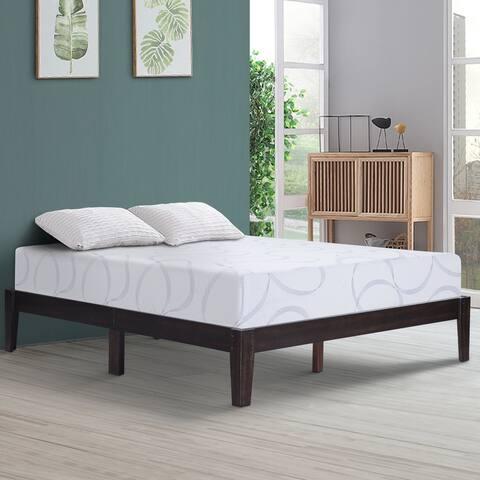 Sleeplanner 14 inch Solid Wood Platform Bed Frame Queen Size